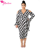 Dear Lover Plus Size 4XL 5XL Women Clothing Autumn Long Sleeve Black White Polka Dot Cold Shoulder Curvy Dress Vestidos LC610480