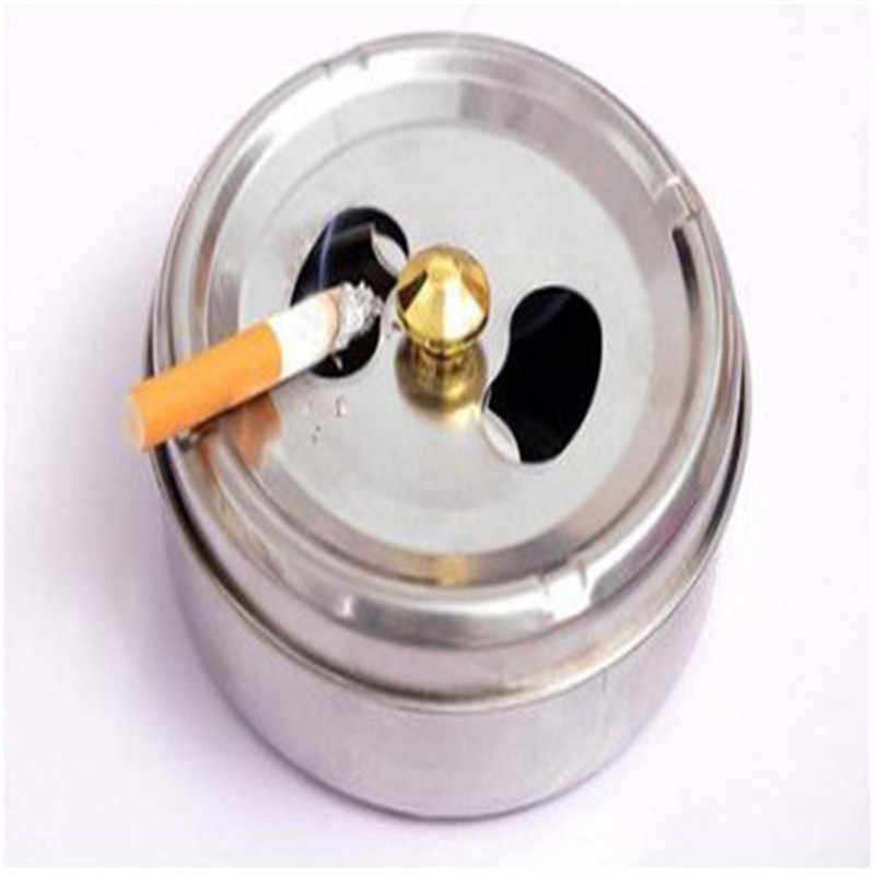 1PCS Home New Practical Smoking Accessories Stainless Steel Ashtray Lid Rotation Fully Enclosed Home Gadgets