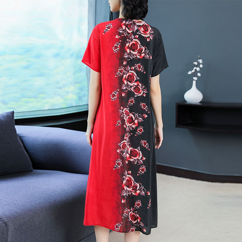 Flowing Red Silk Dress High Quality Plus Size Big for Women 2019 Summer Loose Midi V neck Floral Print Elegant Vintage Clothing in Dresses from Women 39 s Clothing
