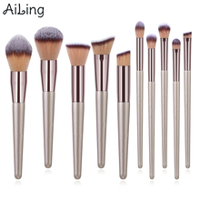 AiLing 10pcs Soft Synthetic Hair Makeup Brush Kit Eyebrow Blending Foundation Eye Shadow Beauty Cosmetic Set Powder Brushes Tool