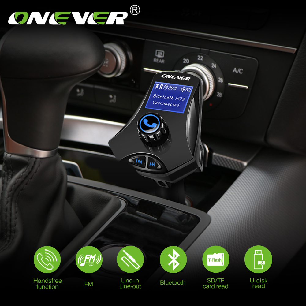 ONEVER FM Transmitter Modulator M7S Rotatable Bluetooth Car Kit Music MP3 Player 2.1A Du ...