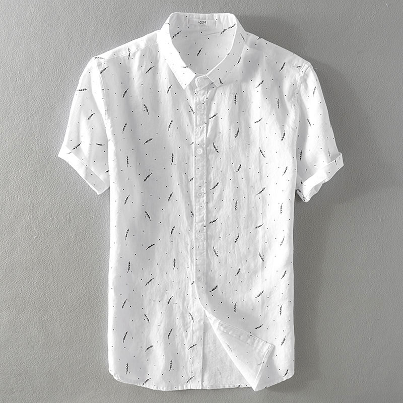 2018 Summer men's pure linen casual print short sleeve shirt Loose art fan flax shirt mens M 3XL turn down collar shirts male