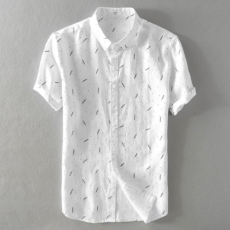 2018 Summer men's pure linen casual print short sleeve <font><b>shirt</b></font> Loose art-fan flax <font><b>shirt</b></font> mens M-3XL turn-down collar <font><b>shirts</b></font> male