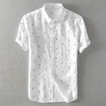 2018 Summer men's pure linen casual print short sleeve shirt Loose art-fan flax