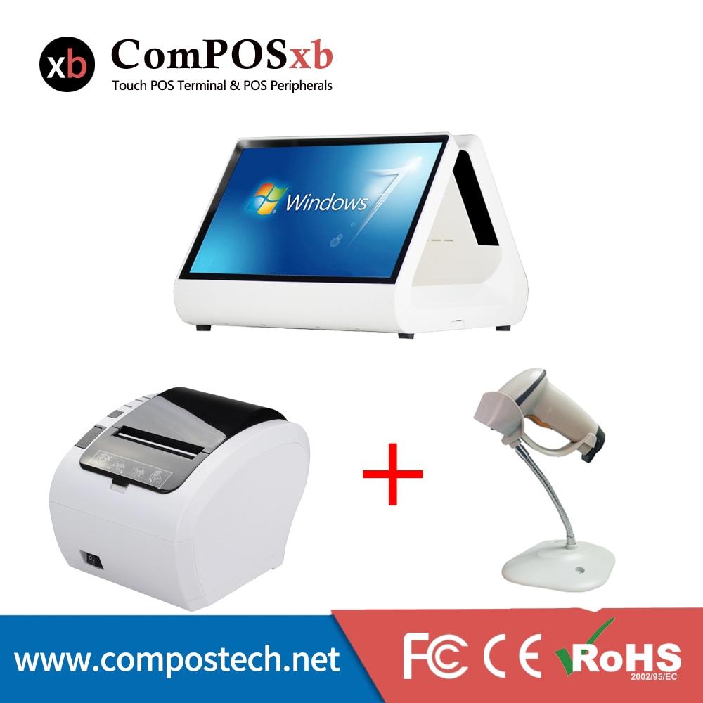 POS Системы 12 CapacitiveTouch Экран все в одном Supermarke EPOS машины 80 мм Термальность принтер проводной 1D usb кабель штрих сканер