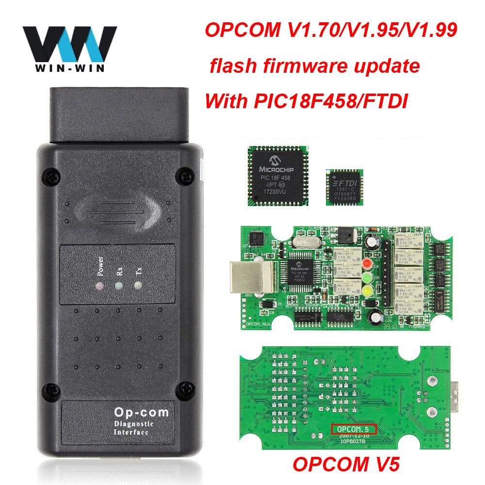 Opcom v5 1.99 1.95 1.70 2014 v pic18f458 ftdi op com v5 flash atualização de firmware obd 2 obd2 scanner carro diagnóstico ferramenta automóvel cabo