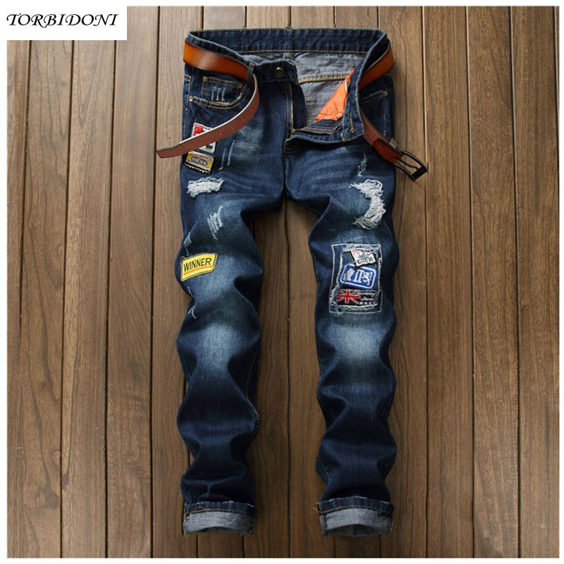 Casual Hole Jeans Homme New Mens Patchwork Ripped Jeans Washed Mens Slim Straight Jeans Pants Classic Scratched Demin Trousers