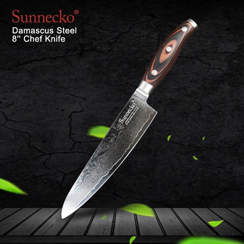 """Ev ve Bahçe'ten Mutfak Bıçakları'de SUNNECKO Yüksek Kalite 8 """"şef bıçağı Şam Çelik Japon VG10 Bıçak Mutfak Bıçakları Pakka Ahşap Saplı Keskin Et Kesici Aracı'da  Grup 1"""