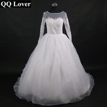 New Fashion African Illusion Long Sleeves 2 In 1 Wedding Dress With Organza Ruffles Custom-made Plus Size Bridal Gown
