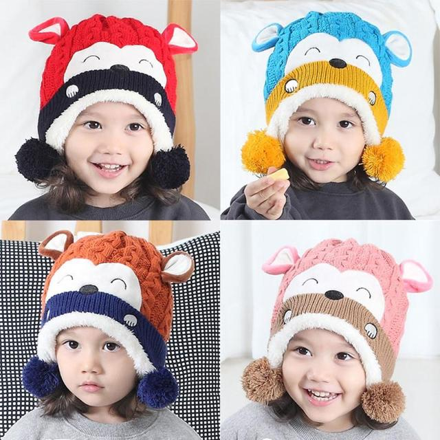 Autumn Winter baby caps Cartoon Monkey Wool Hat Child knitted Hat Ear  Protection hats for girls boys newborn photography props f8dbf0dd6a27