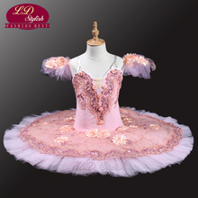 Pink Peach Professional Ballet Tutus Adult Pancake Tutu Women Classical With Flowers LD0037 Stage Dancewear Costumes