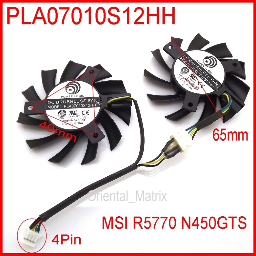 Free Shipping 2pcs/lot POWER LOGIC PLA07010S12HH 12V 0.50A 65mm For MSI R5770 N450GTS HAWK Graphics Card Cooling Fan 4Pin 4Wire