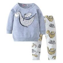 Autumn Baby Boy Clothes Newborn Baby Girl Clothing Set Fashion Infant Long-sleeved Dinosaur Printed T-shirt+pants 2pcs Outfits