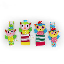 ZWX099-1 Wrist Rattle And Foot Socks Baby Animal Rattle Bell Toys Baby Child Rattle Cartoon Owl Animal Plush Hand Bell Baby Toys(China)