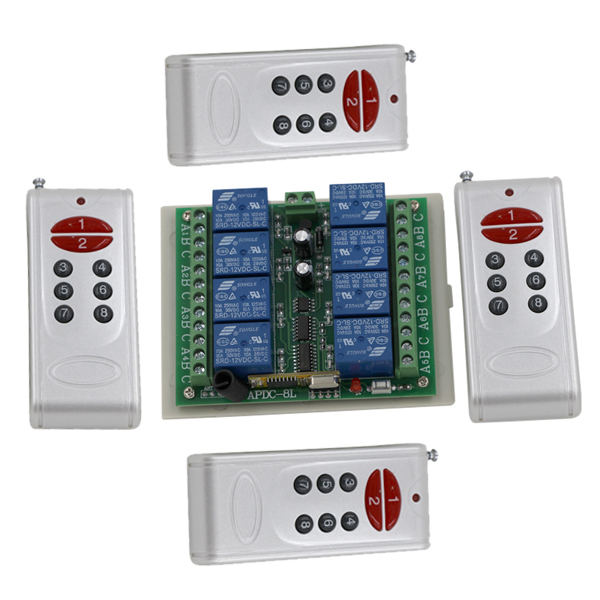 New Arrival DC 12V 8CH Wireless Remote Control Switch 10A RF Switch 4xTransmitter+ Receiver For Access/door System SKU: 5003 dc 12v 1ch rf wireless remote control switch system 4 transmitters with 4 button receiver power switch gateway for access