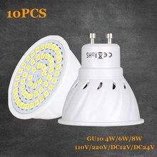 10PCS GU10 LED Bulb Lamp 110V 220V 4W 6W 8W Bombillas LED Lamp Spotlight GU 10 36 54 72LEDs 2835 Spot cfl Grow Plant Light