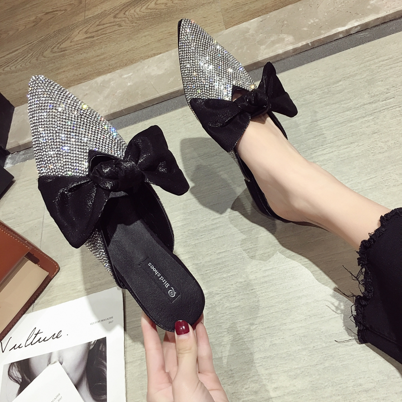 Pointed toe slippers crystal bowknot shoes woman low heels anti-skid slides shallow mules casual flipflops cute femme summer new 9