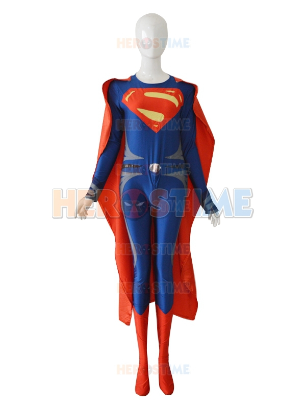 Deep Blue & Red Man Of Steel Superman Superhero Costume cosplay spandex Superman costume hot sale zentai suit free shipping