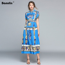 Banulin High Quality 2019 Summer Fashion Designer Runway Dress Womens Long Sleeve Vintage Floral Printed Pleated