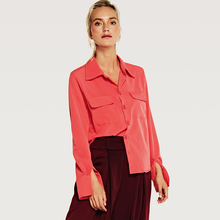 Six Senses 2019 New Women's Cotton Shirts Slim Turn-over Collar, Single-row Button and Big Pocket Women Blouses  HM013 polyscience single row six hole pointer shanghai set