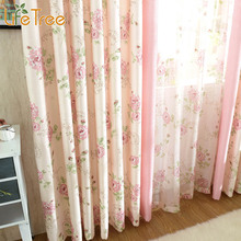 Pastoral Tulle Crutains for Living Room High Quality Bedroom Drapes Pink Window Curtain Sheer Custom Made