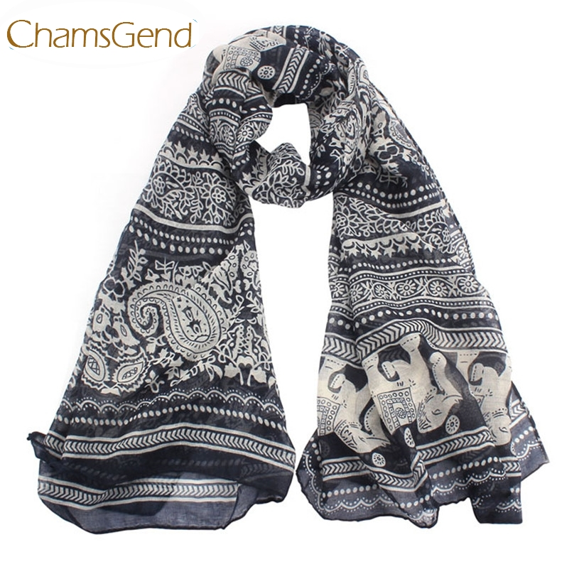 Chamsgend Newly Design Boho Elephant Printed Women Long   Scarf     Wrap   Shawls Drop Shipping