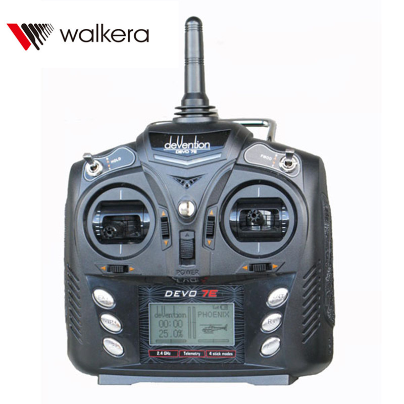 Walkera Devo 7E 7CH Transmitter Radio Control Mode 2 Left Hand Throttle USB Cable Audio Line Without Receiver For RC Helicopter dsm2 micro rc receiver mini fpv receiver 2 4g 5 channels support all jr and spektrum walkera devo 10 7e transmitter