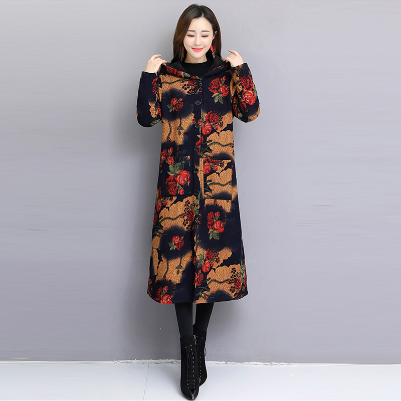 Winter new vintage ethnic style trend printing long Hooded cotton coat lady Plus velvet thickening Fashion 2XL cotton coat s95