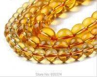 Spedizione gratuita Giallo Perle Tonde 4mm 6mm 8 MM 10mm Strand Per La Produzione di Gioielli