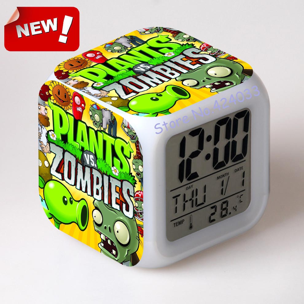 buy plants vs zombies alarm clock led light 7 color change cool gadgets saat square table projection clock plastic digital from reliable