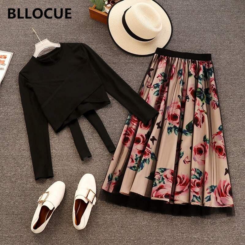 BLLOCUE 2019 Spring Summer 2 Piece Set Women Sweet Cross Bowknot Irregular T Shirt Vintage Floral
