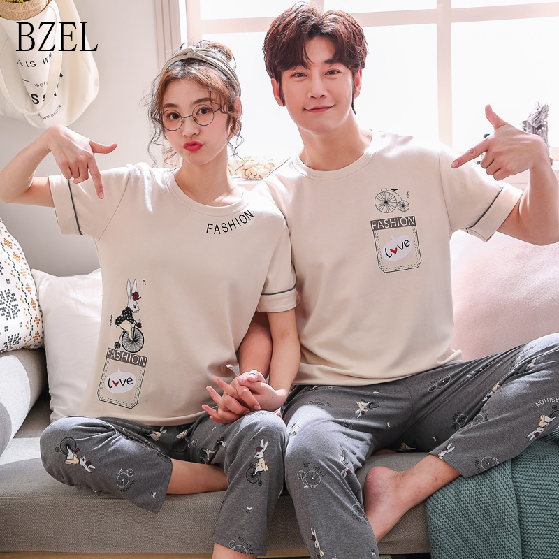 BZEL 2019 New Women Men Short Sleeve Couple Clothes Casual T-Shirt  Lover Pajama Couple Pijama Set Cute Cartoon O-neck Nightwear