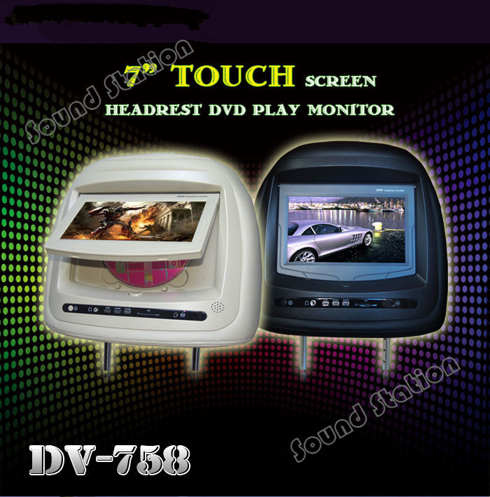 2 Pcs X 7 Inch Car Headrest DVD Player Wide Screen TFT LCD Display Auto Head Rest Monitor With Touch USB SD FM IR Game In Multimedia From
