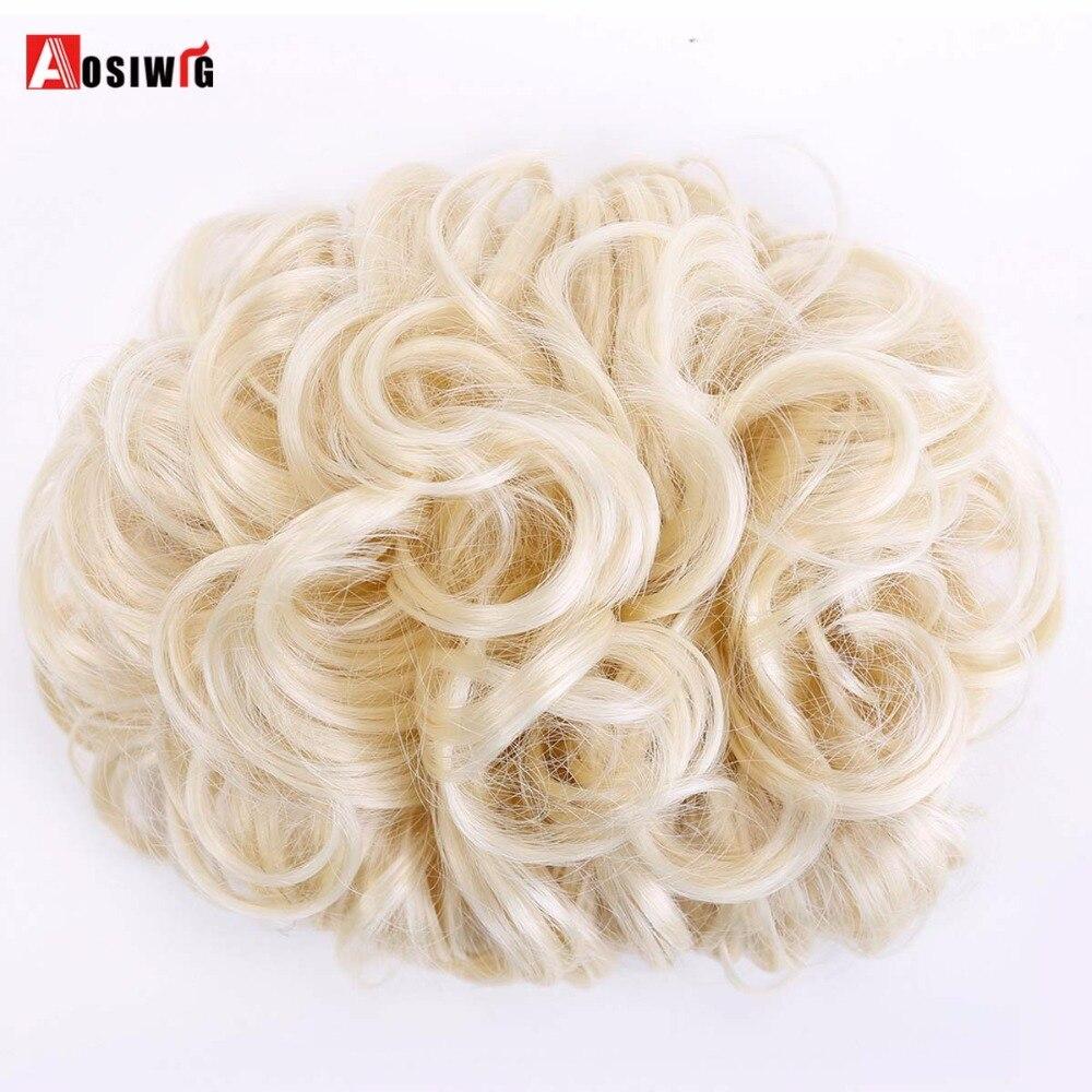 Коричневый Цвет синтетические волосы Chignon волос волосы булочка площадку вьющиеся упругий канат шиньон шиньоны AOSIWIG