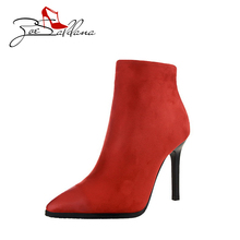 Zoe Saldana 2017 Pointed Toe Suede Sexy Fashion Ankle Thin High Heel Boots Platform Woman Shoes
