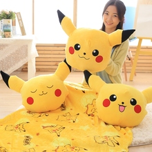 Candice guo! Anime plush toy cute cartoon animal Pikachu big head cushion hand warm blanket birthday Christmas gift 1pc