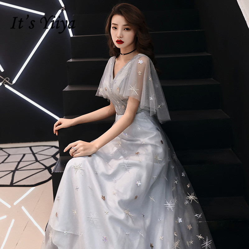 It's YiiYa   Evening     Dress   Embroidery Full Stras Flare Short Sleeve Formal Gown Fashion Gray V-neck Long Party   Dresses   E079