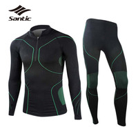 Santic Men Cycling Base Layer Outdoor Sports Breathable Quick Dry Bicycle Underwear Long Sleeve Road Mountain