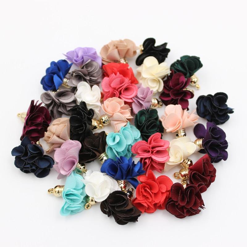 10pcs/lot 28mm Flowers pendant tassels For Cellphone Curtain Key Jewelry Earrings Making Accessories
