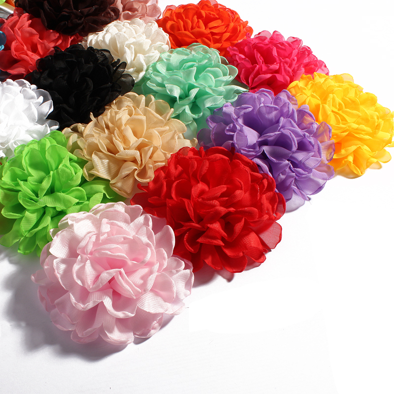 120pcs lot 4inch 20colors Vintage Burn Eage Chiffon Flower For Children Hair Accessories Artificial Fabric Flowers