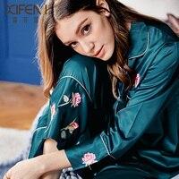 Xifenni Silk Pajama Sets Female Spring Summer New Faux SILK Sleepwear Woman Rose Flower Long Sleeve Nightwear 2 Pieces X9102