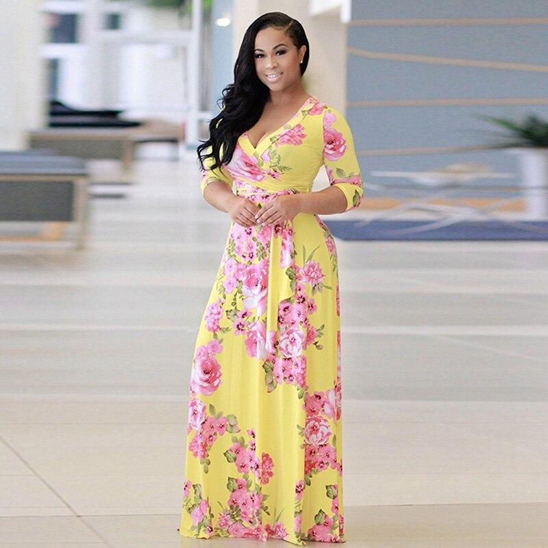 HENGSONG Plus Size S-5XL Women Summer Printed Long Dress Sexy Deep V-neck Half Sleeve Women Ankle Length Long Dress 849783