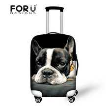 France Bulldog Luggage Trolley Accessories Elastic Waterproof Luggage Set Cover Bags 18-30 inch Suitcase Protective Dust Covers cheap Travel Accessories Polyester Animal Prints Packing Organizers 600D Polyester 3186S 72cm 50cm 0 23kg FORUDESIGNS 3D Bulldog Tiger Horse Travel Accessories