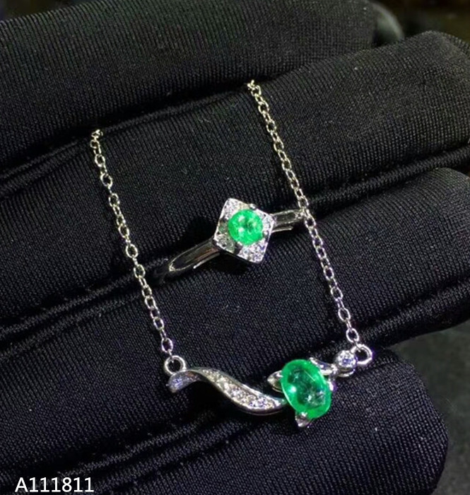 KJJEAXCMY Boutique jewelry 925 pure silver inlaid natural emerald female Jewelry Set Ring pendant 2 piece