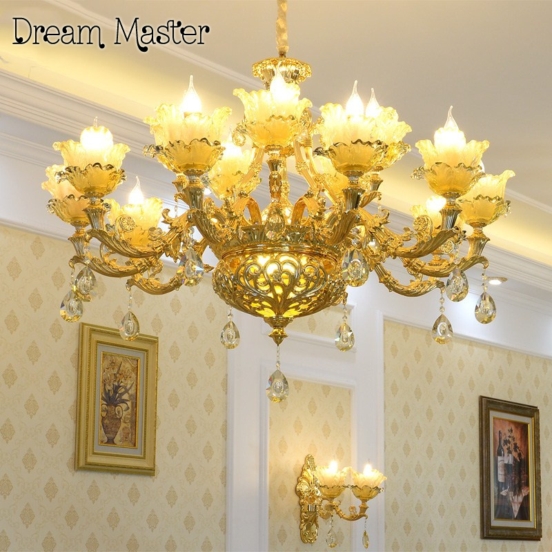 French Deluxe atmosphere crystal chandelier villa living room dining room bedroom European palace alloy jade pendant lamp a1 master bedroom living room lamp crystal pendant lights dining room lamp european style dual use fashion pendant lamps