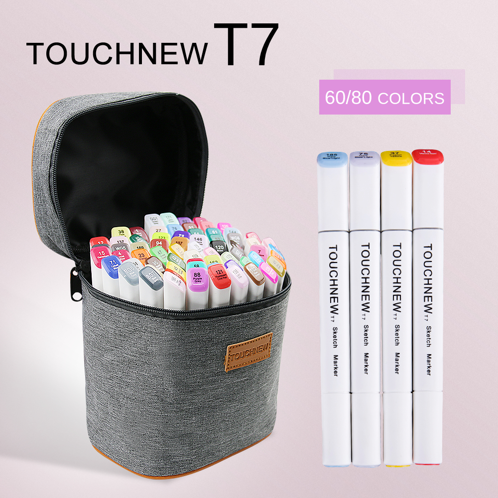 TOUCHNEW T7 60/80 colors dual tips sketch markers grey bag for drawing painting design manga art supplies touchnew t6 60 colors dual tips white barrel sketch markers case packed for drawing painting design manga art supplies