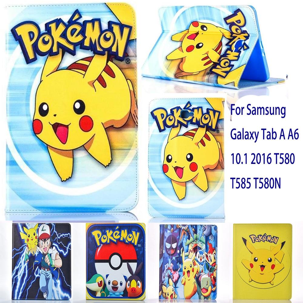 Caso Para Samsung Galaxy Tab UM A6 10.1 2016 T580 T585 T580N caso Pikachu Pokemon Ir bonito tablet Tampa Flip fique shell casco pará