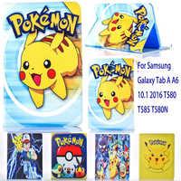 Caso para Samsung Galaxy Tab A A6 10,1 2016 T580 T585 T580N caso Pokemon lindo Pikachu tablet tapa carcasa de soporte para