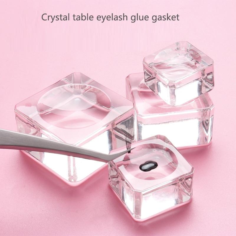 1Pcs Square Shape Crystal Glass Pad Eyelash Glue Holder Clear Eyelashes Extension Tool Reusable Women Practical Lash Glue Pads