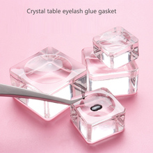 1Pcs Square Shape Crystal Glass Pad Eyelash Glue Holder Clear Eyelashes Extension Tool Reusable Women Practical Lash Pads